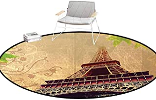 Floor Carpet Eiffel Tower Decor Collection Image of Eiffel Tower and Tree Leaves on Grunge Background with Swirls and Scrolls Sepia Beige Rugs for entryway Round 6.7'Diameter