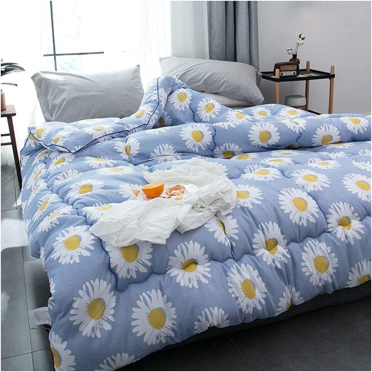 Warm Quilt Refinement Duvet Spring Autumn Winter Thickened Warm Single Double Bedding - bluee Comforter Family Student Dormitory - All Cotton Fabric Fashion Cozy Quilt Antiallergic Quilt