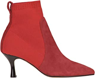 MALÌPARMI Women's MCGLCAS000006048I Red Leather Ankle Boots