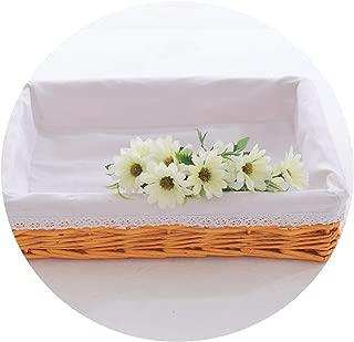 Large Portable Bamboo Weaving Storage Basket Rose Rattan Storage Box for Cosmetics Tea Picnic Basket Organizer Handiwork,04