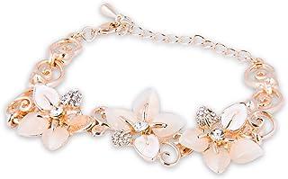 9298e5b41 SAPHIRA Fashion Jewellery- Rose Gold Plated Adjustable Crystal Charm Free  Size Rose Flower Bracelet Bangles