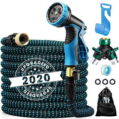 """Delxo 2020 Upgrade 75FT Expandable Garden Hose Water Hose with 9-Function High-Pressure Spray Nozzle, Heavy Duty Flexible Hose, 3/4"""" Solid Brass Fittings Leakproof Design"""