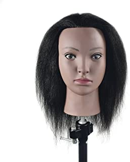 100% Real Hair Mannequin Head Hairdresser Training Head Manikin Cosmetology Doll Head with Free Table Clamp