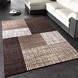 Paco Home Designer Teppich Modern Kariert Kurzflor Teppich Design Meliert In Braun Creme,...