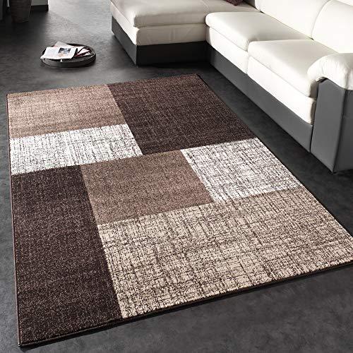 Paco Home Designer Teppich Modern Kariert Kurzflor Teppich Design Meliert In Braun Creme, Grösse:160x230 cm