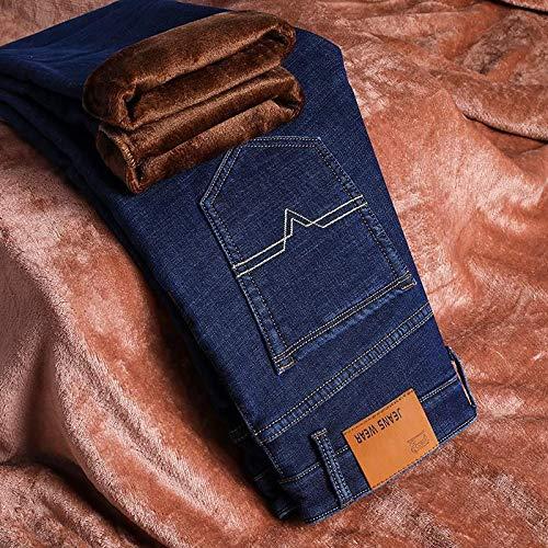 Jeans Hose Hiver Jeans Hommes Slim Fit Stretch Épais Velours Pantalon Chaud Jeans Casual Polaire Pantalon Mâle Plus La Taille 32 Bleu