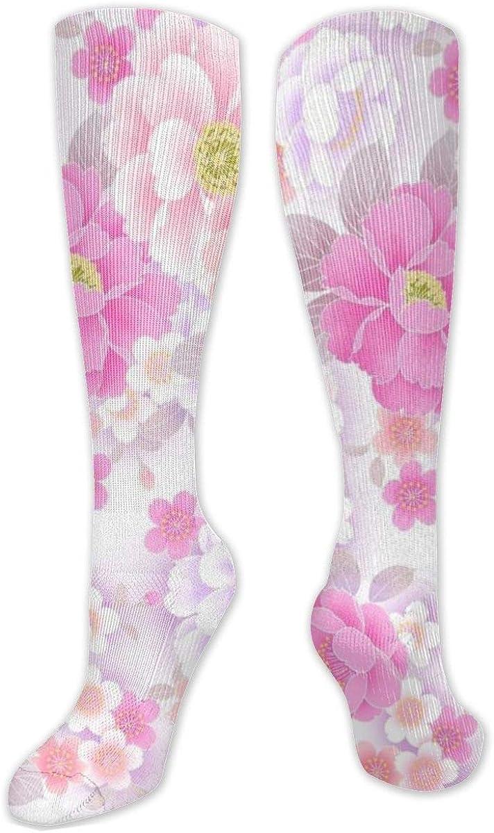 Pink Pretty Flower Knee High Socks Leg Warmer Dresses Long Boot Stockings For Womens Cosplay Daily Wear