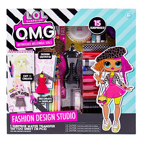 Horizon Group USA LOL OMG Fashion Studio DIY ファッションデザインキット自分の服をカットして作成するスケッチデザイン、トレース&縫製ファブリック、糸、クレヨン、マーカーなどが含まれています。