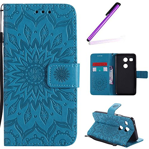 EMAXELERS LG Nexus 5X Hülle Elegant Retro Prägung Mandala Blumen Sonnen Muster PU Cover Handytasche Schale Handyhülle für LG Nexus 5X,Blue Left and Right Sunflower