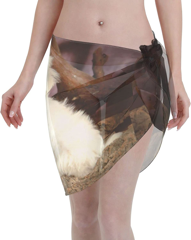 Maltese Puppy Women Beach Short Sarongs Cover Ups Beach Swimsuit Wrap Skirt Black