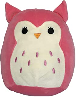 """JGT Squishmallows 8"""" Super Soft Plush Toy Pillow Pet (1) Animal Pillow Pal Buddy Hot Pink (1) Squishy Foodie Slow Rising Stress Gear – Hoot The Owl - Bundle of 2"""