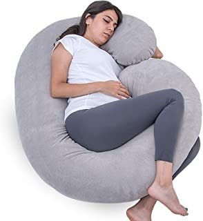1 MIDDLE ONE Pregnancy Pillow, C Shaped Full Body Pillow for Maternity Support, Pregnant Women Sleeping Pillow with Velour Cover (Grey)