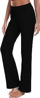 Irevial Pantalones de Yoga para Mujer Modal,Algodon Alta Cintura Elásticos pantalón de Campana con cordón, Casuales Chanda...