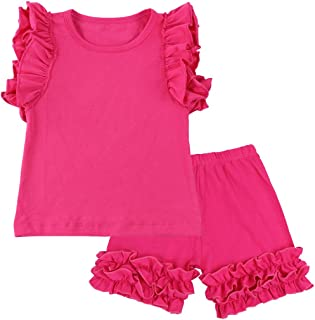 Wennikids Baby Girls2-Piece Ruffle Tank Top and Short Set