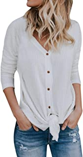 Womens Loose Knit Tunic Blouse Tie Knot Henley Tops Bat Wing Plain Shirts