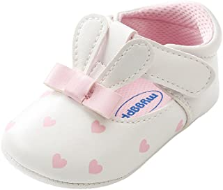 Kuner Baby Girls PU Leather Embroidered Soft Bottom Non-Slip Rabbit Princess Shoes First Walkers Shoes