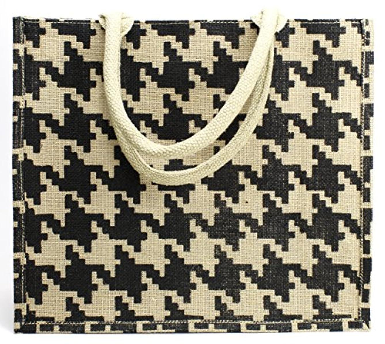 Kel-Toy NJBT13-20 Houndstooth Jute Tote Bag 15.5