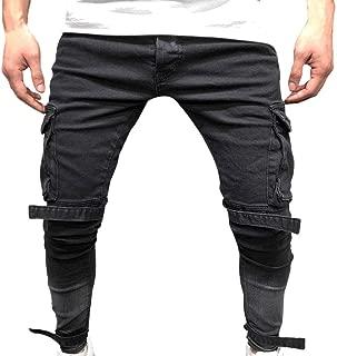 WOCACHI Mens Cargo Jogger Pants Twill Chino Drawstring Elastic Sports Trousers