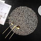 Tovagliette,Tovaglietta decorativa vuota ecologica, pad isolante termico per stampa a caldo di lusso leggero per uso domestico 4 pezzi-oro