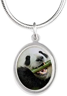 Royal Lion Silver Oval Necklace Panda Bear Playing Bamboo Flute
