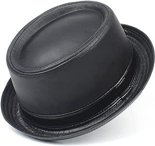 100% Leather Balck Pork Pie Hat Fedora Hat Fasgion Gentleman Flat Bowler Porkpie Top Hat Men