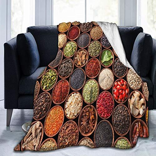LASINSU Manta de Franela Suave,Coloridas Hierbas Y Especias Cardamomo Pimienta Chile Jengibre Eneldo Cocina Natural,Cama de Camping para sofá 204x153cm