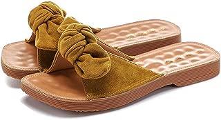 Veveca Women Open-Toe Easy Non-Slip All Day Comfort Slide Flip Flop Bowknot Slippers Flat Sandals