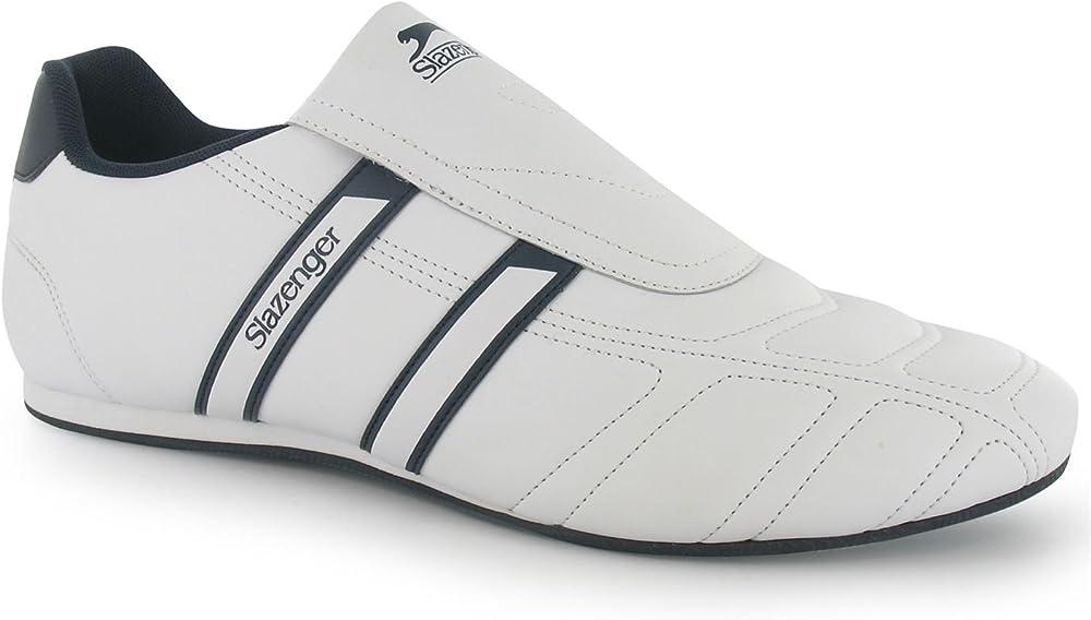 Slazenger warrior scarpe da ginnastica sneakers da uomo alla moda 90% sintetico 10% pelle Bianco Blu Marino