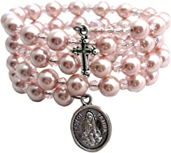 Children's 5 Decade Rosary Wrap Simulated Pearl Bracelet ~ Organza Bag Included