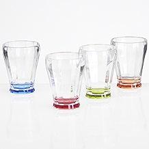 Trinkglas Glas Gläser Stapelbar Trink Kunststoff Camping 220ml, 4 Stück, Zubehör Buntes Acryl, Acrylglas, Partyglas, Wasserglas, Bruchfest, Trinkbecher Becher Whiskyglas Whiskey Glas-Optik Leicht.