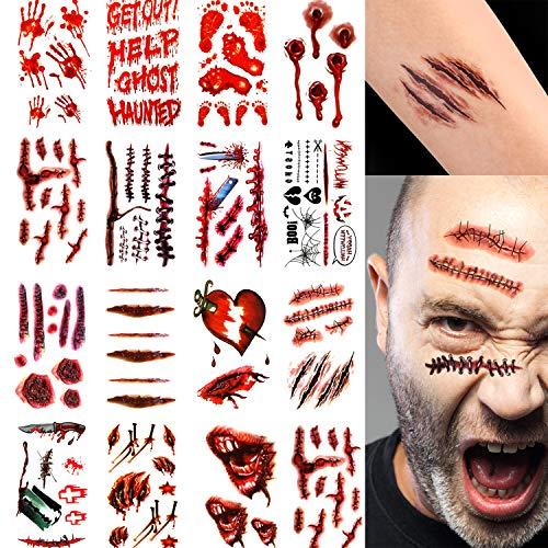 30 Blätter Halloween Blutungen Fake Wunden Temporäre Tattoo Narbe für Party Zombies Cosplay Kostüm