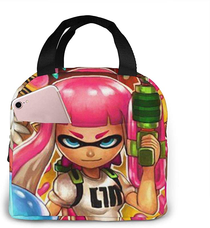 BOKAIKAI1306 Handsome S Splatoon 2 Unisex Student Portable Lunch Bags Zippers Lunch Box Portability Bento Bag Adults Container Case For Picnics School Office