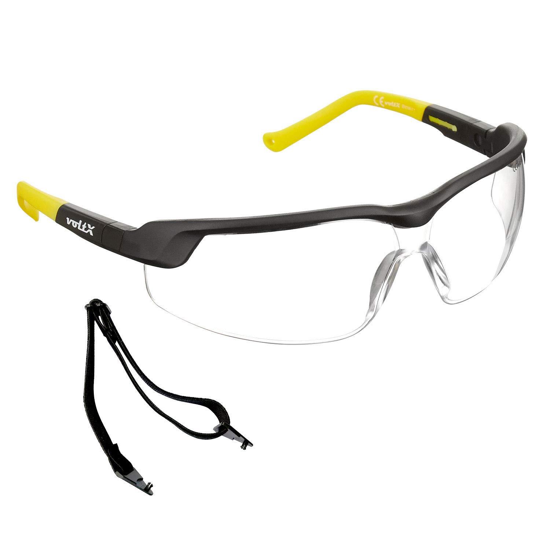 voltX 'GT ADJUSTABLE' (2020 model) Gafas de seguridad ajustables, (TRANSPARENTE) Certificado CE EN166FT, Revestimiento antiempañamiento, Lentes UV 400