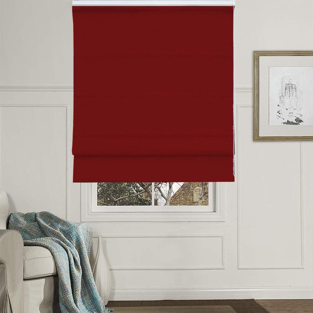 Artdix Roman Shades Blinds Window Shades - Red 35 W x 60 H Inche