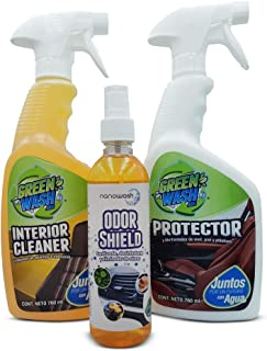 Green Wash 3 Kit De Limpieza, Protección Y Sanitización para Interiores de Autos