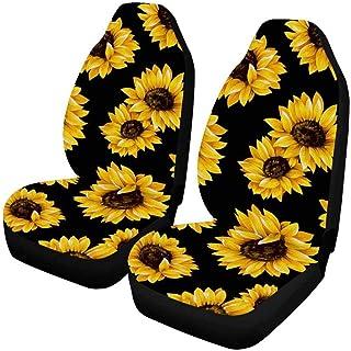 Sitzbezug auto vordersitze 2 Stück auto sitzbezüge set universal Sonnenblumen Sitzbezüge für Autos Komplettset Sonnenblumen Blumendruck auto schonbezüge Autositzbezug Auto Innenleisten Dekoration