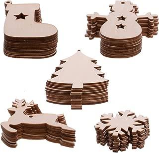 knowing 50 Colgantes de Madera para Navidad, decoración de Navidad, Discos de Madera de rodajas de Madera, Laca de Nieve, muñeco de Nieve, árbol de Navidad, calcetín de Navidad