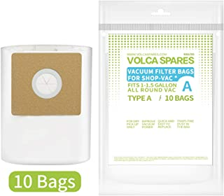 Volca Spares Type A Filter Bags for Shop-Vac 1.0 1.5 Gallon Wet/Dry Vacuums,10 Bags, Part # 9066700