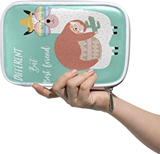 MRMIAN Cute Sloth Llama Friends Mint Green Multiple Large Leather Pencil Pen Bags Pouch Small Travel Cosmetic Case Passport Wallet with Zipper & Mulpti Packs