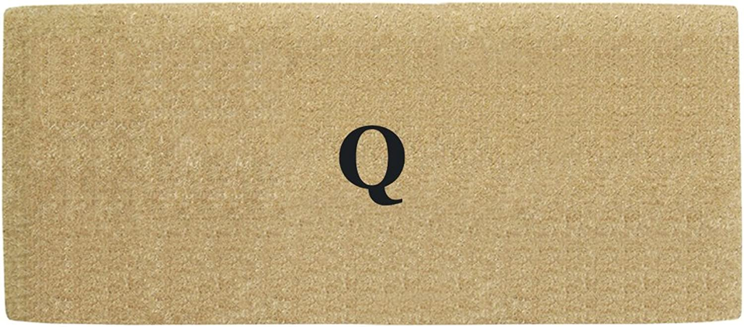 Creative Accents Monogrammed Q Heavy Duty Coco Mat with No Border, 36 x 72