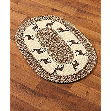 The Lakeside Collection Themed 20x30  Braided Accent Rug - Deer