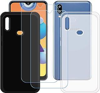 TTJ Svart + genomskinligt skal för Samsung Galaxy M01S + [2 stycken] HD pansarglas, mobiltelefonfodral silikon skyddande f...
