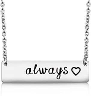 WUSUANED Always Heart Necklace Love Quote Jewelry for Girlfriend Wife