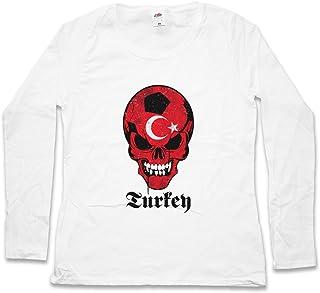 Turkey Turkish FÚTBOL Football Soccer Skull Flag Mujer Women T-Shirt De Manga Larga – Istanbul Turquía Bandera cráneo Fan Hooligan Istanbul Constantinople Türkiye Islam Muslim Shirt Tamaños S - 5XL