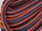 12 Strand Polyester Arborist Climbing Rope 1/2 inch, Blue/Orange (100 feet)