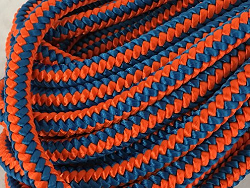 12 Strand Polyester Arborist Climbing Rope 1/2 inch, Blue/Orange (100 feet)