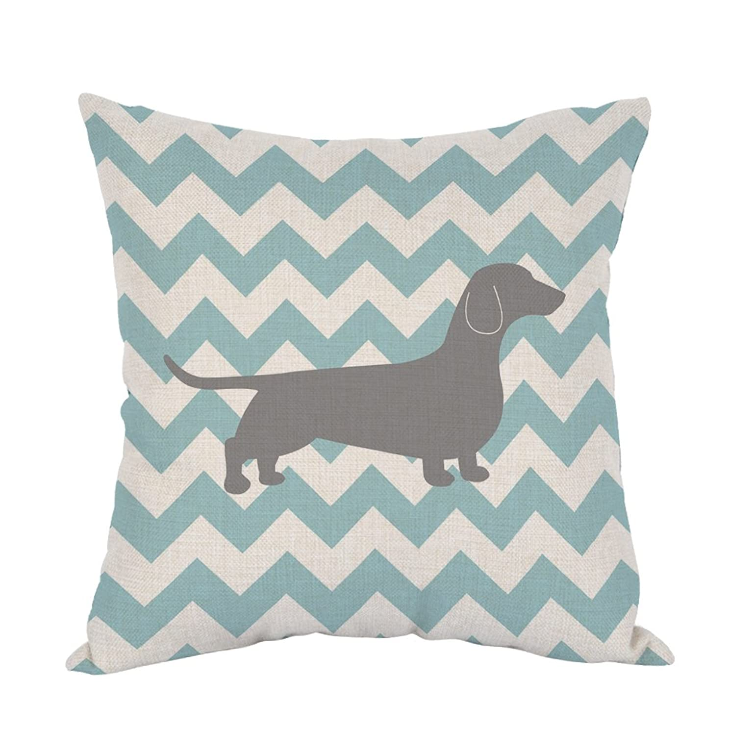 Moslion Dachshund Dog Pillow Dachshund Pattern Dog Teal Waves Striped Cotton Linen Cushion Cover Square Pillow Cases for Men Women Boys Girls Kids Pillowcase Sofa Bedroom Livingroom 18