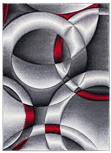 TAPISO Sumatra Tappeto Salotto Moderno Soggiorno Design Moderno Geometrico Astratto Grigio Rosso 240 x 330 cm