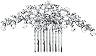 Mariell Glistening Silver and Clear Crystal Petals Bridal, Wedding or Prom Hair Comb Accessory