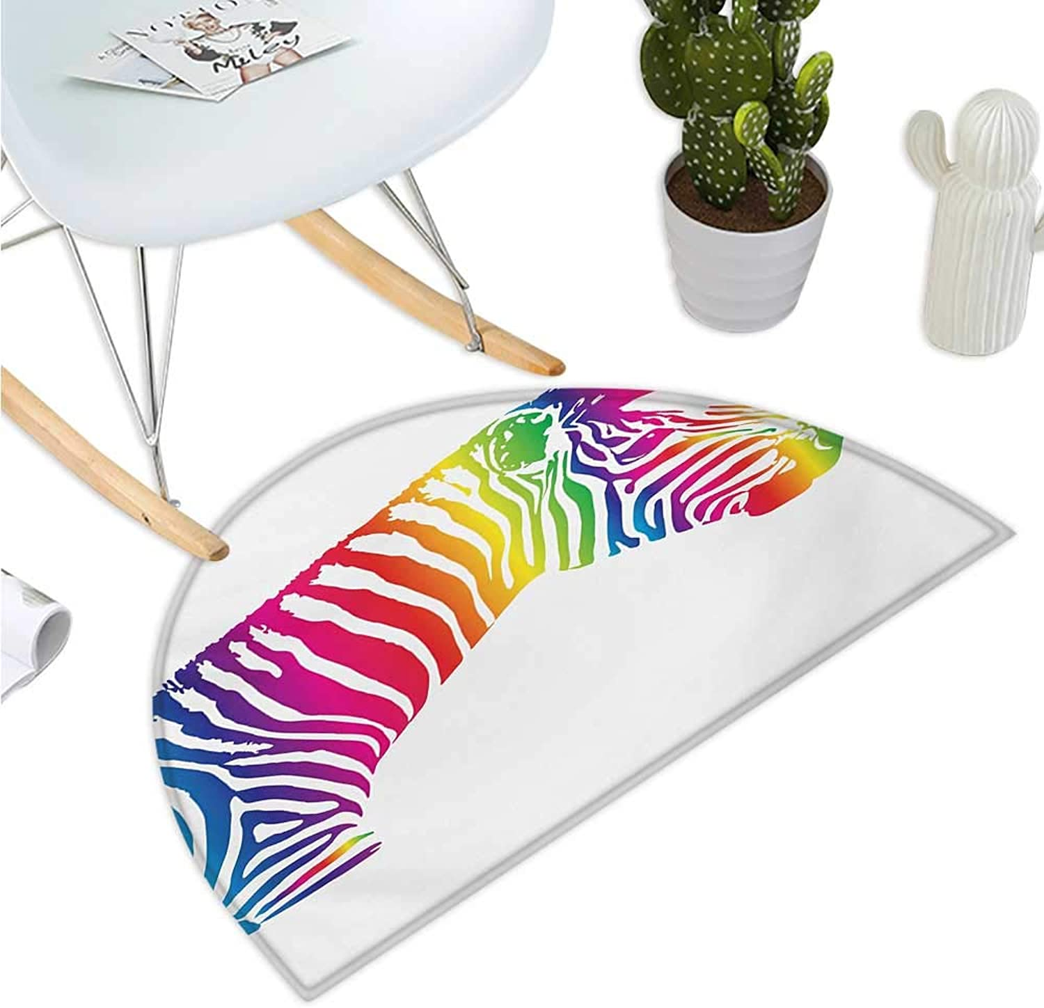 Safari Semicircular Cushion Zebra Portrait in Multicolord Stripes Zoo Animal Savannah Mammal with Vibrant Skin Entry Door Mat H 35.4  xD 53.1  Multicolor